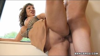 Frisky big boobed brown-haired perfection Ava Devine gets fanny drilled after licking
