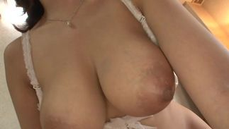 Messy maid Mio Takahashi with handsome tits is kneeling on the floor and sucking stud's dangler