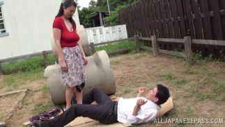 Divine Emiko Ejima with giant tits sits down on a weenie and she grinds