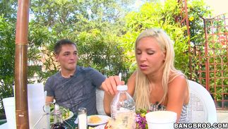 Lewd golden-haired bimbo Kacey Jordan with big tits eagerly hops on a stiff lovestick
