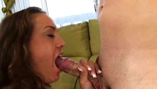 Fleshly brown-haired beauty Lana Sky with impressive natural tits is sucking a rock hard chopper while fucker is moaning from pleasure