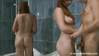 Lustful minx Jess B with huge tits gives her muscular stud a wild blow job