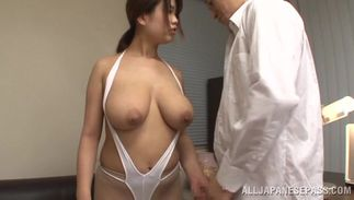 Wanton woman Miyuki Matsushita with massive tits swallows a juicy large hard sausage