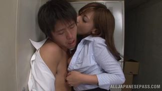 Luscious busty sweetheart Yu Sakura is riding a rock hard dink like a real pro and moaning from pleasure