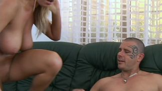 Aphrodisiac golden-haired Jessica Moore with big natural tits eagerly drools over a throbbing tool