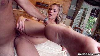 Wicked bosomed beauty Kate Frost flirts with the pal and tempts him to sex