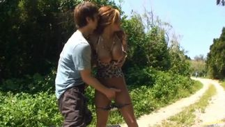 Horny big boobed girlie Erika got down and dirty with a fellow whom she liked a lot