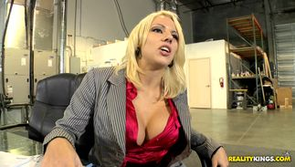 Striking big titted blond maiden Lylith Lavey is getting her daily dose of fuck from dude