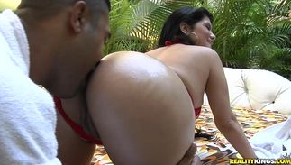 Big titted latin bombshell Bruna Ferraz is voluptous and enjoys riding a huge slim jim