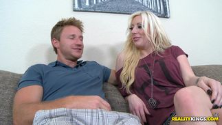 Sweet blond Valerie Fox with huge tits receives a fuck stick in her tight cave