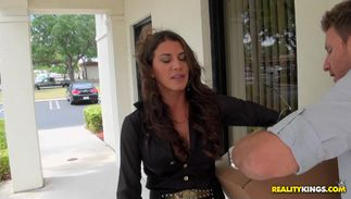 Leena Sky with handsome tits is remarkable and reaches a giant top