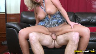 Cheerful blonde playgirl Carey Riley with huge tits yearns to be fucked so hard