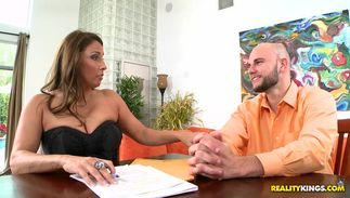 Shameless big titted maiden Stacie Starr knows how to handle a slim jim
