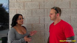 Mouthwatering big boobed latin Becca Diamond is enjoying while lover is fucking her brains out like an brute