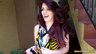 Redhead gf Ryan Smiles with round tits is fascinating and she enjoys sucking a large chopper