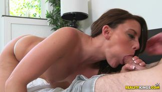 Pretty busty dark-haired babe Christina Lyn enjoys being destroyed hard and fast