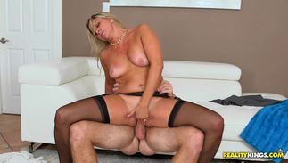 Glorious big titted blond bimbo Angela enjoys having her juice taco pounded with passion