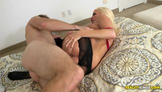 Awesome blond Jessy with massive tits is eager to be fucked already