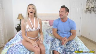 Charming bosomed bombshell Brooke Paige and stud seem like they want to make love with each other