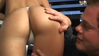 Exquisite Brandi with curvy love muffins is kneeling in front of stranger and gently engulfing his hard stick