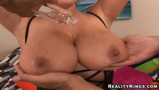 Astonishing big titted blond Brandy Talore is sucking and fucking like a pro and enjoying every second of it